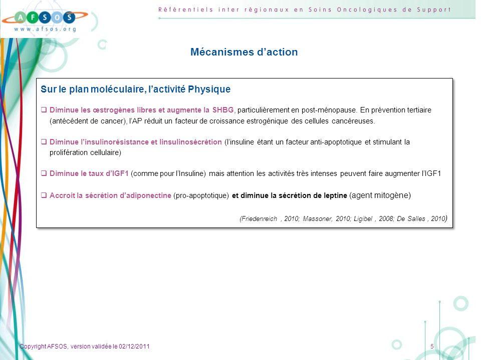 Mécanismes d'action Sur le plan moléculaire, l'activité Physique