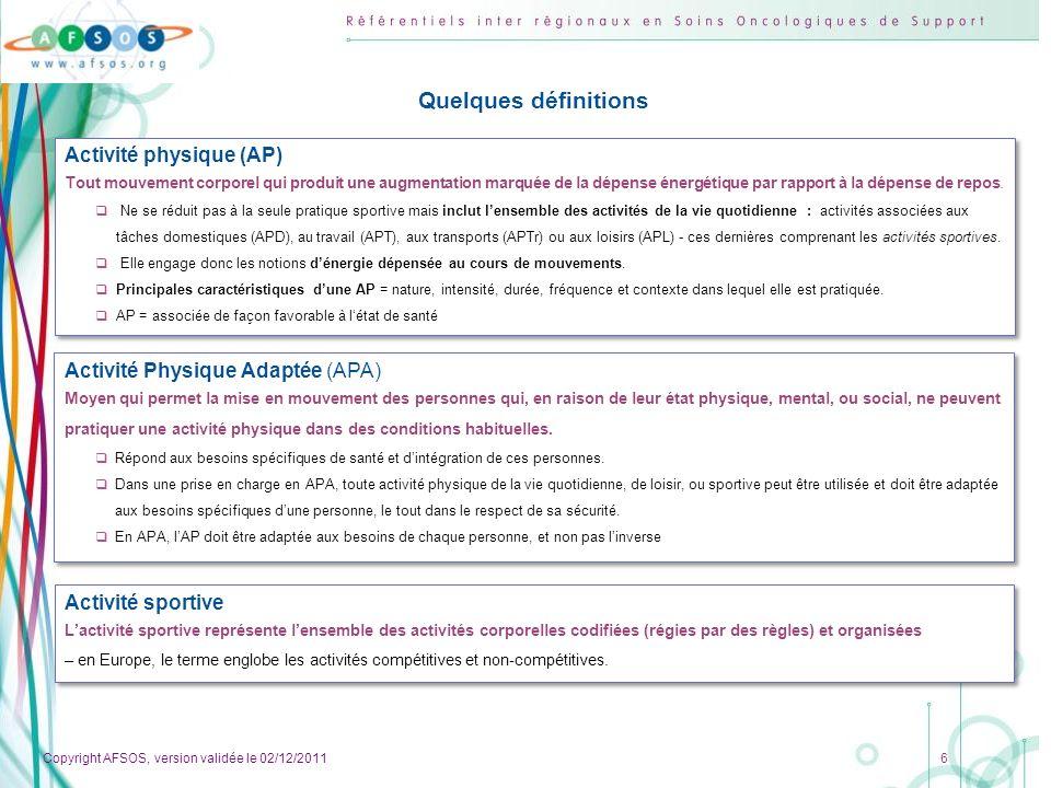 Quelques définitions Activité physique (AP)