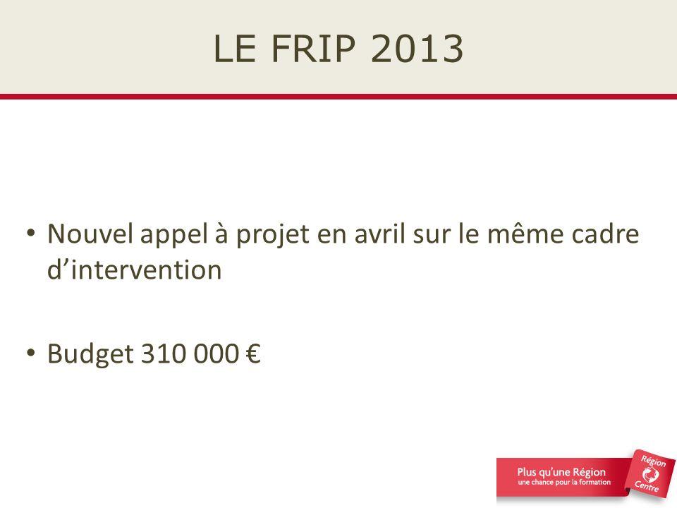 LE FRIP 2013 Nouvel appel à projet en avril sur le même cadre d'intervention Budget 310 000 €