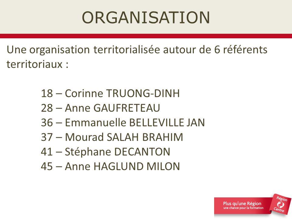 ORGANISATION Une organisation territorialisée autour de 6 référents territoriaux : 18 – Corinne TRUONG-DINH.