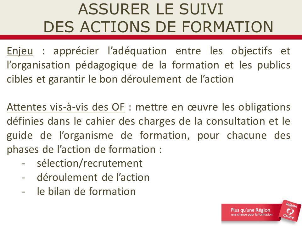 ASSURER LE SUIVI DES ACTIONS DE FORMATION