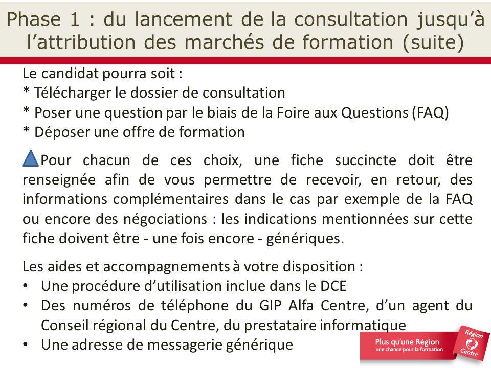 Phase 1 : du lancement de la consultation jusqu'à l'attribution des marchés de formation (suite)