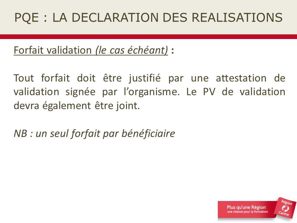 PQE : LA DECLARATION DES REALISATIONS