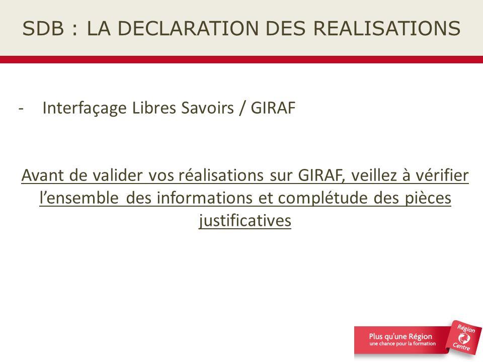 SDB : LA DECLARATION DES REALISATIONS