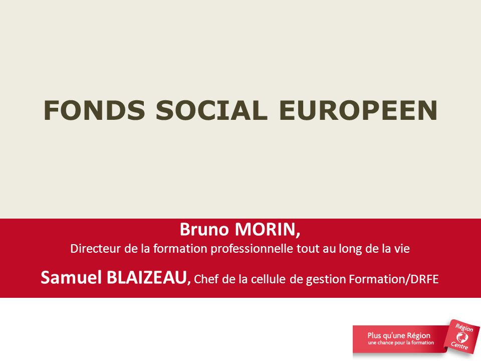 FONDS SOCIAL EUROPEEN Bruno MORIN,