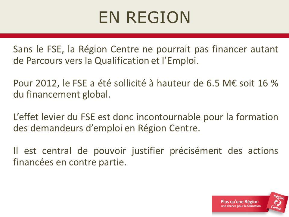 EN REGION Sans le FSE, la Région Centre ne pourrait pas financer autant de Parcours vers la Qualification et l'Emploi.