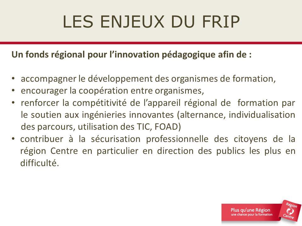 LES ENJEUX DU FRIP Un fonds régional pour l'innovation pédagogique afin de : accompagner le développement des organismes de formation,