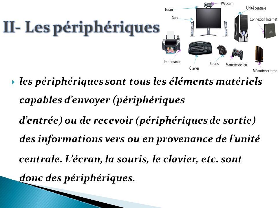 II- Les périphériques les périphériques sont tous les éléments matériels capables d'envoyer (périphériques.