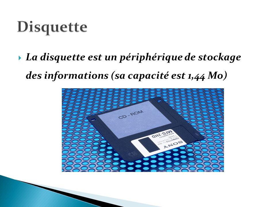 Disquette La disquette est un périphérique de stockage des informations (sa capacité est 1,44 Mo)