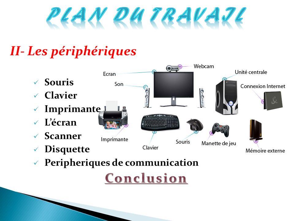 PLAN DU TRAVAIL II- Les périphériques Conclusion Souris Clavier