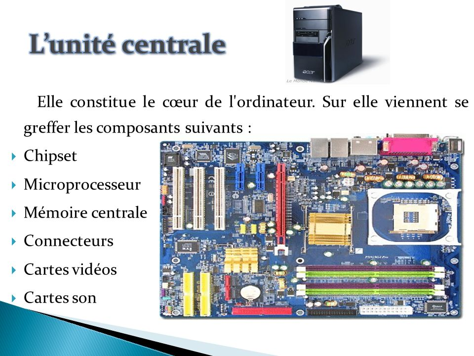 Architecture mat rielle d un ordinateur ppt video for Interieur unite centrale