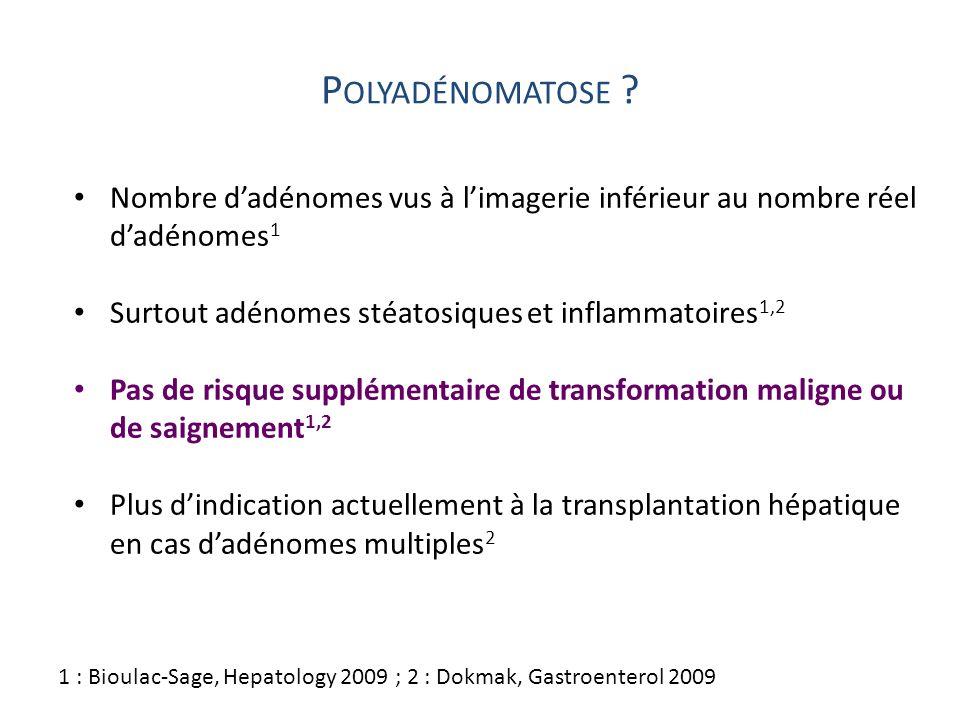 Polyadénomatose Nombre d'adénomes vus à l'imagerie inférieur au nombre réel d'adénomes1. Surtout adénomes stéatosiques et inflammatoires1,2.
