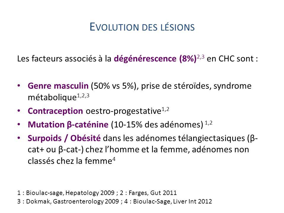 Evolution des lésions Les facteurs associés à la dégénérescence (8%)2,3 en CHC sont :