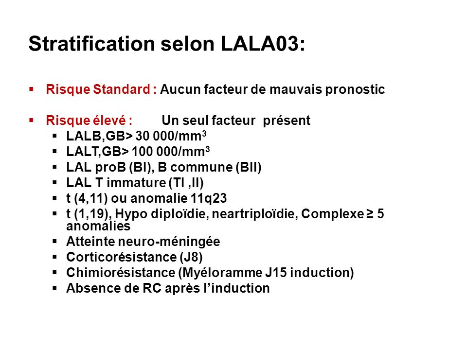 Stratification selon LALA03:
