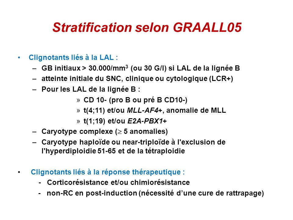 Stratification selon GRAALL05