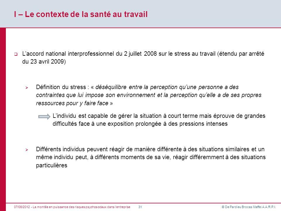 I – Le contexte de la santé au travail