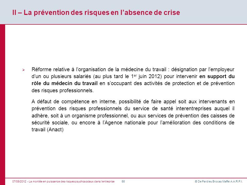 II – La prévention des risques en l'absence de crise