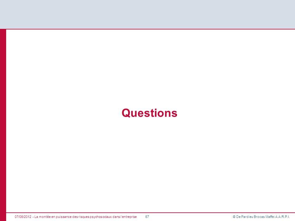 Questions 07/06/2012 - La montée en puissance des risques psychosociaux dans l'entreprise