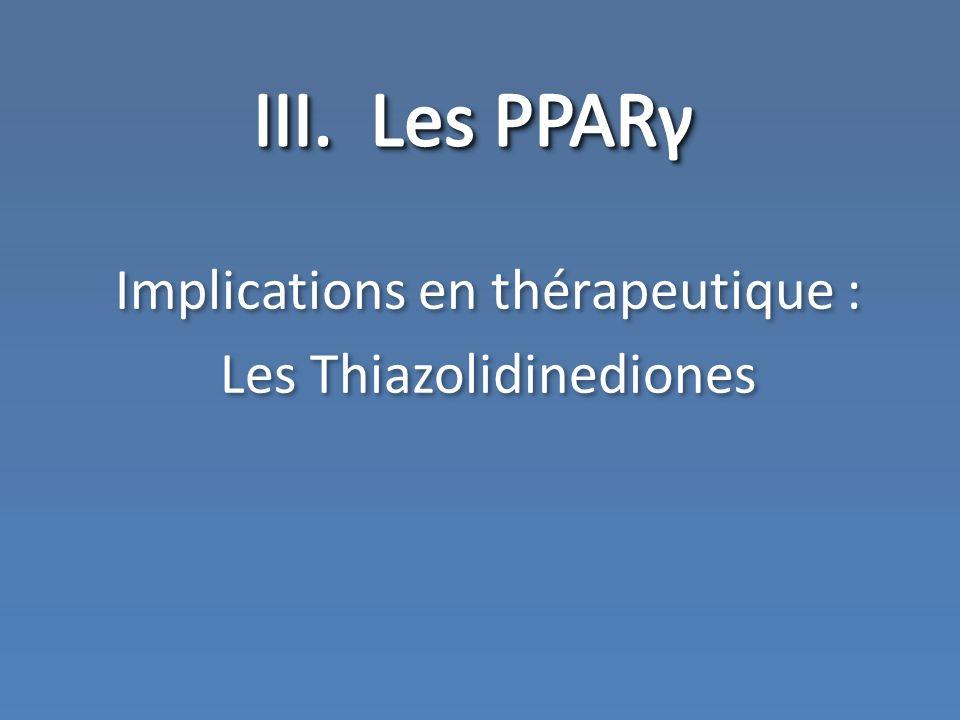 III. Les PPARγ Implications en thérapeutique : Les Thiazolidinediones