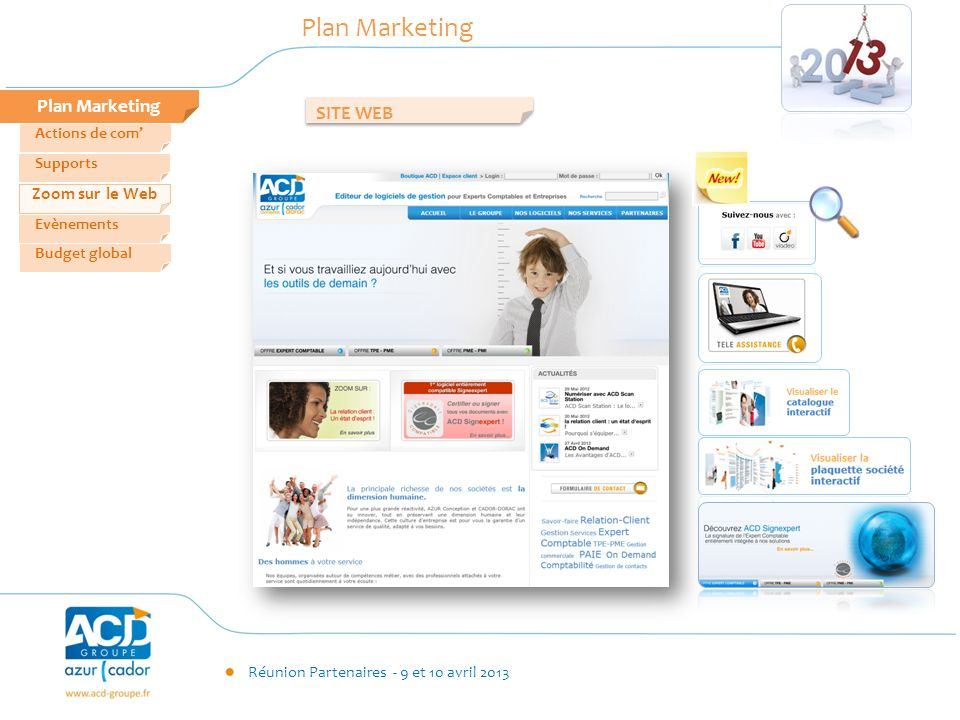 Plan Marketing Plan Marketing SITE WEB Zoom sur le Web Actions de com'