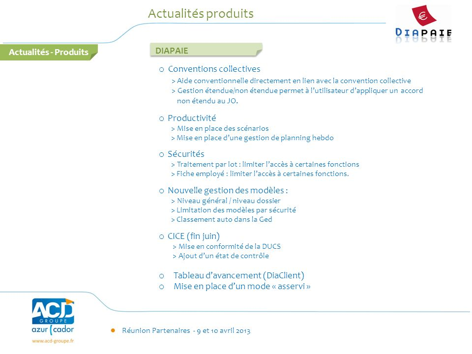 Actualités produits Actualités - Produits DIAPAIE