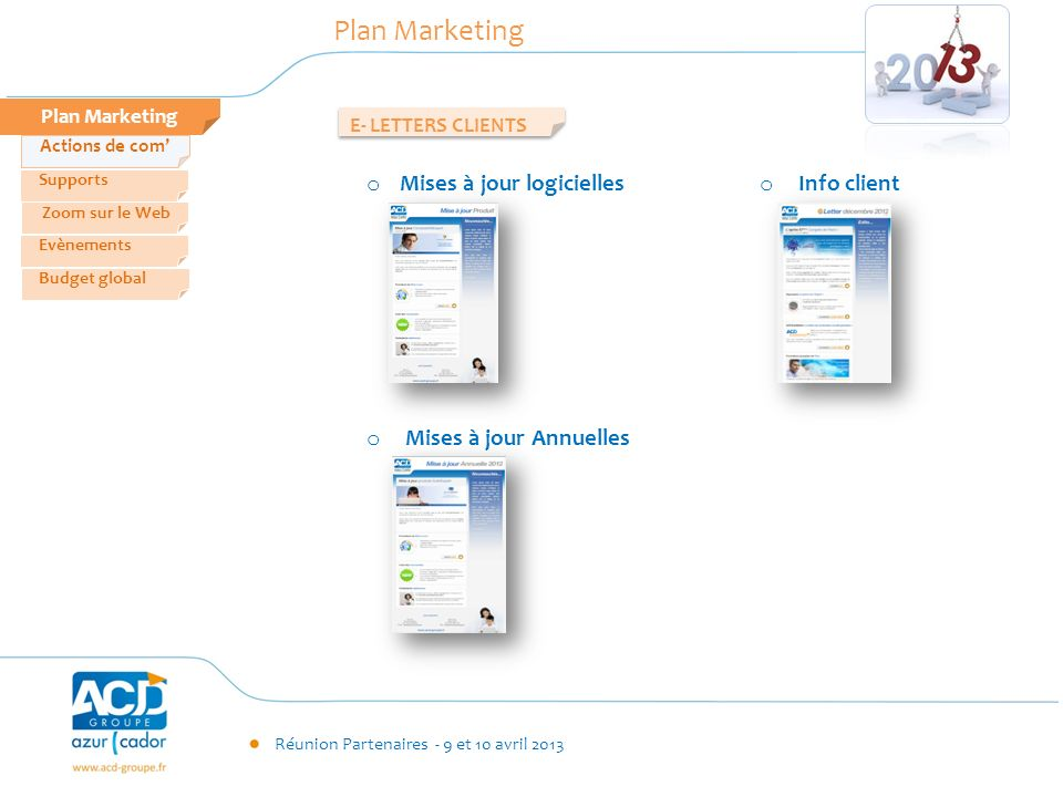 Plan Marketing Mises à jour logicielles Info client