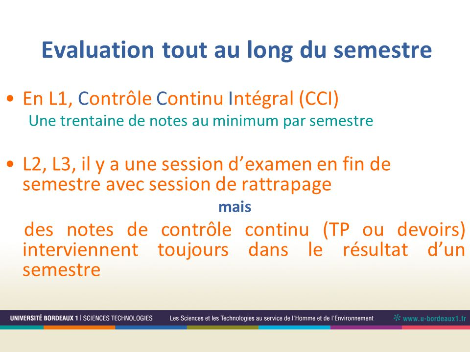 Evaluation tout au long du semestre