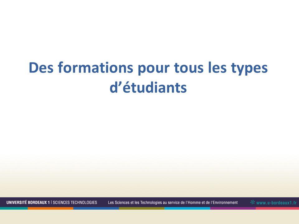 Des formations pour tous les types d'étudiants