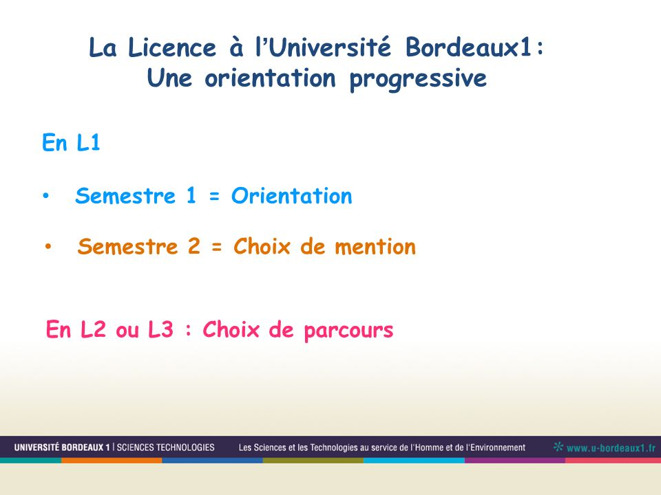 La Licence à l'Université Bordeaux1: Une orientation progressive