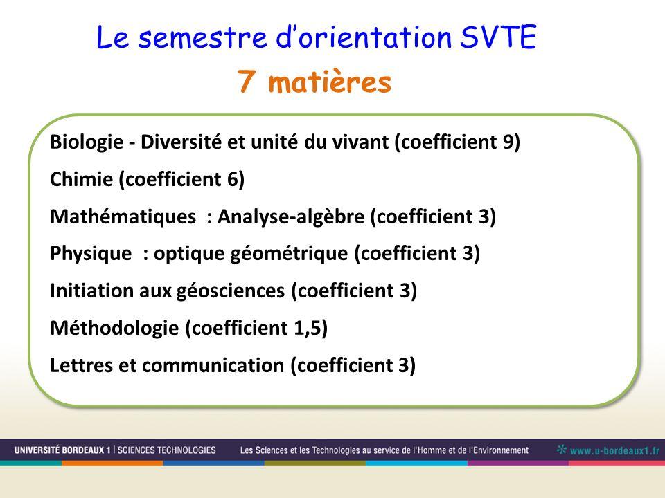 Le semestre d'orientation SVTE