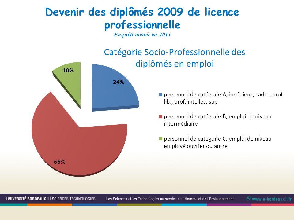 Catégorie Socio-Professionnelle des diplômés en emploi
