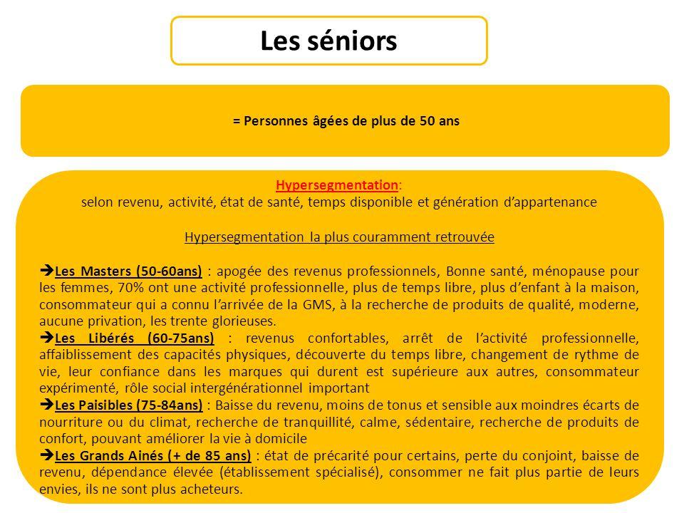 Les séniors = Personnes âgées de plus de 50 ans Hypersegmentation: