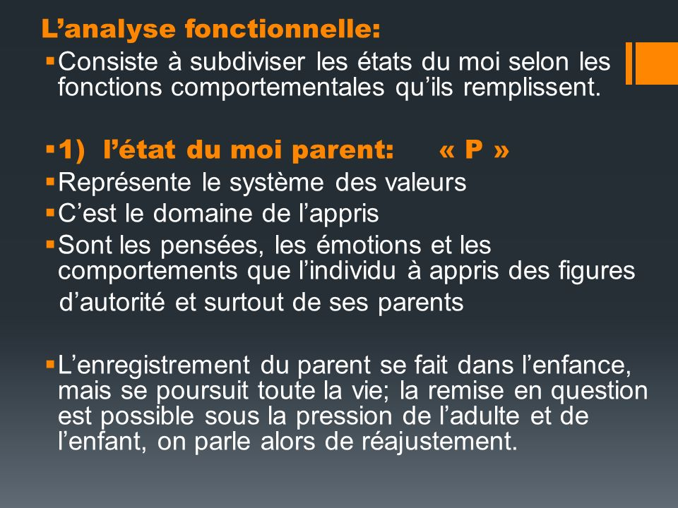 L'analyse fonctionnelle: