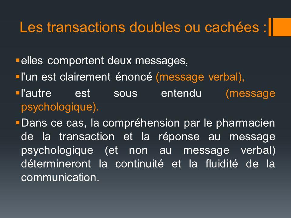 Les transactions doubles ou cachées :