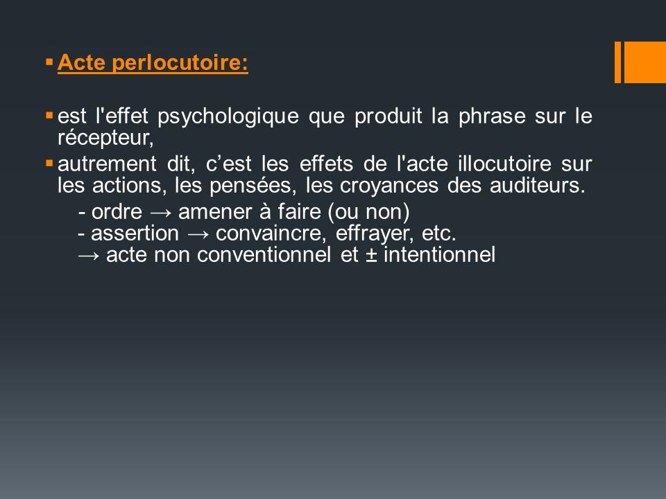 Acte perlocutoire: est l effet psychologique que produit la phrase sur le récepteur,