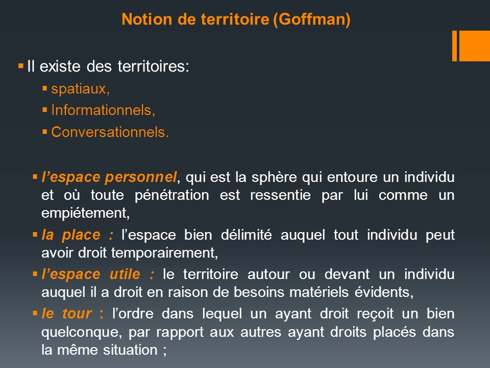 Notion de territoire (Goffman)