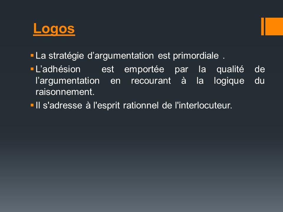 Logos La stratégie d'argumentation est primordiale .