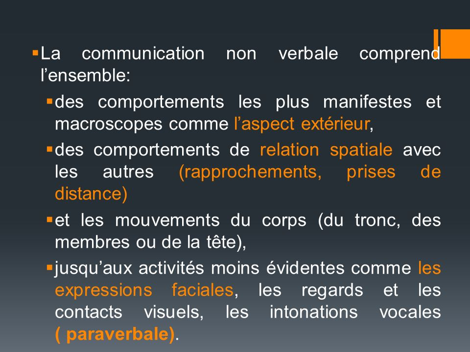 La communication non verbale comprend l'ensemble: