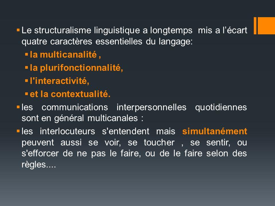 Le structuralisme linguistique a longtemps mis a l'écart quatre caractères essentielles du langage:
