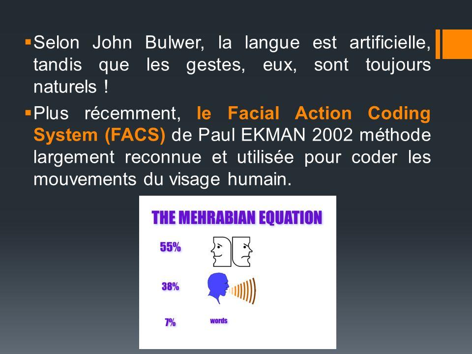 Selon John Bulwer, la langue est artificielle, tandis que les gestes, eux, sont toujours naturels !