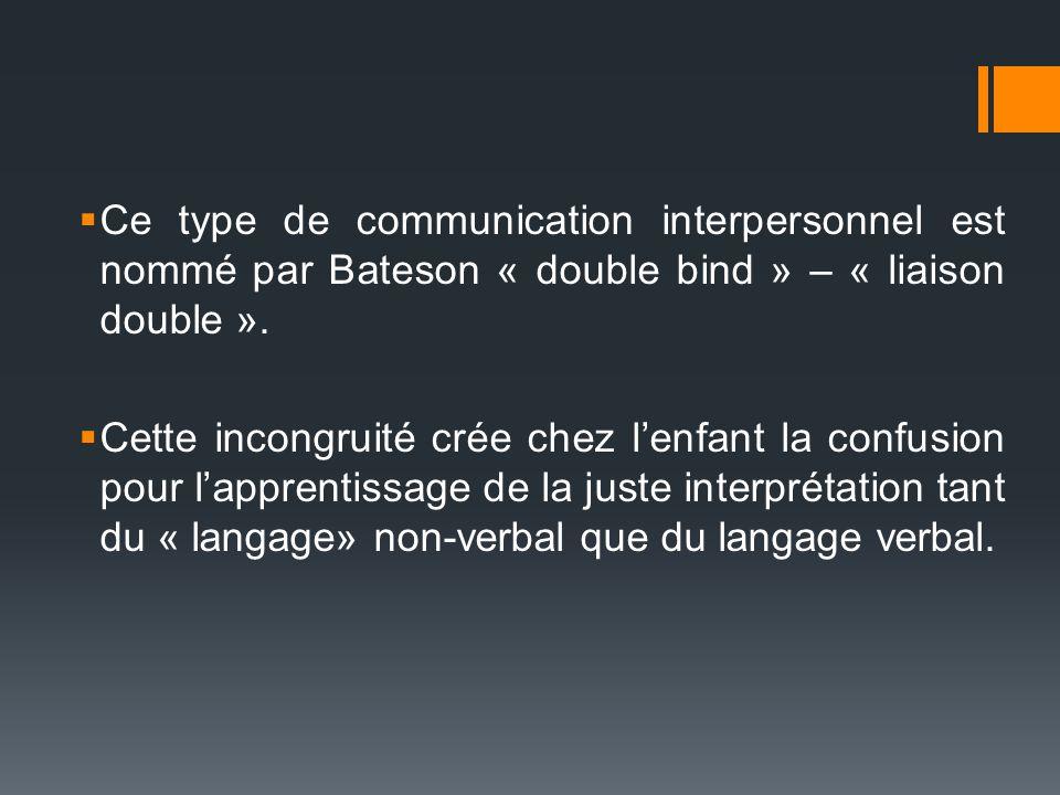 Ce type de communication interpersonnel est nommé par Bateson « double bind » – « liaison double ».