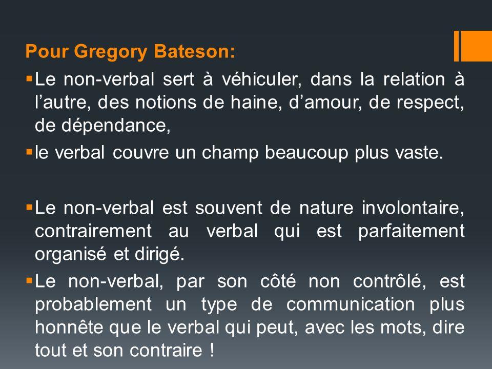 Pour Gregory Bateson: Le non-verbal sert à véhiculer, dans la relation à l'autre, des notions de haine, d'amour, de respect, de dépendance,