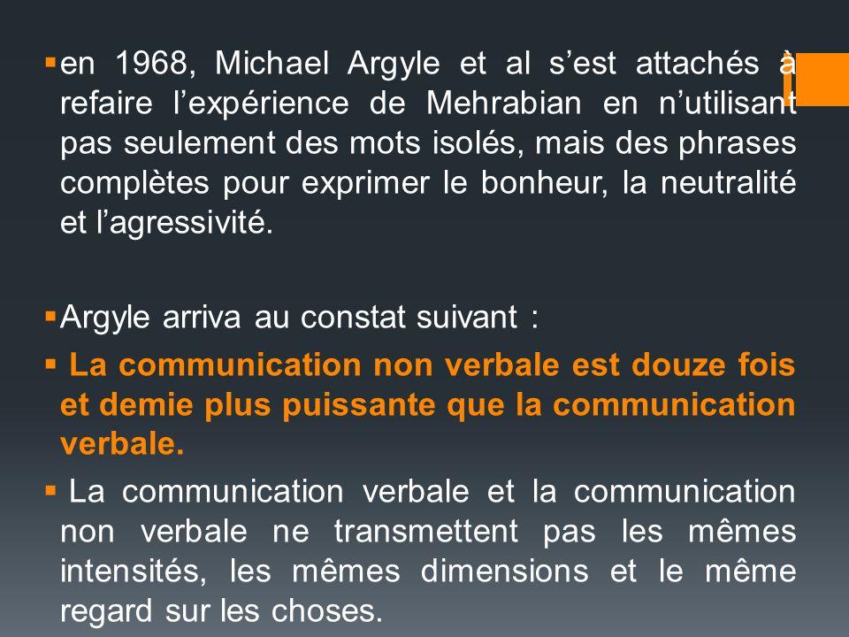 en 1968, Michael Argyle et al s'est attachés à refaire l'expérience de Mehrabian en n'utilisant pas seulement des mots isolés, mais des phrases complètes pour exprimer le bonheur, la neutralité et l'agressivité.