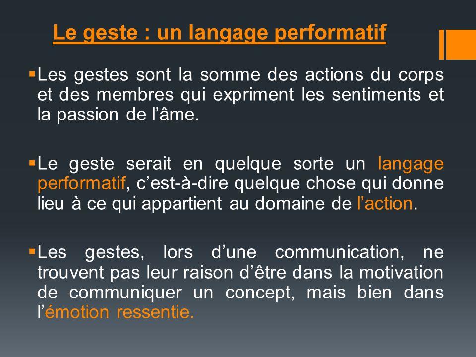 Le geste : un langage performatif