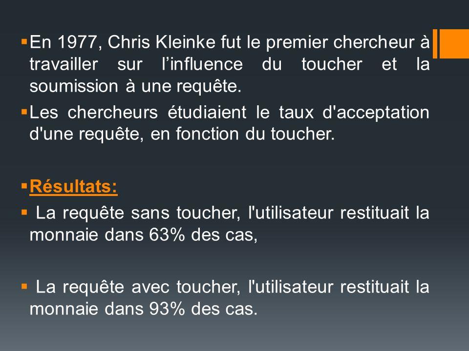 En 1977, Chris Kleinke fut le premier chercheur à travailler sur l'influence du toucher et la soumission à une requête.