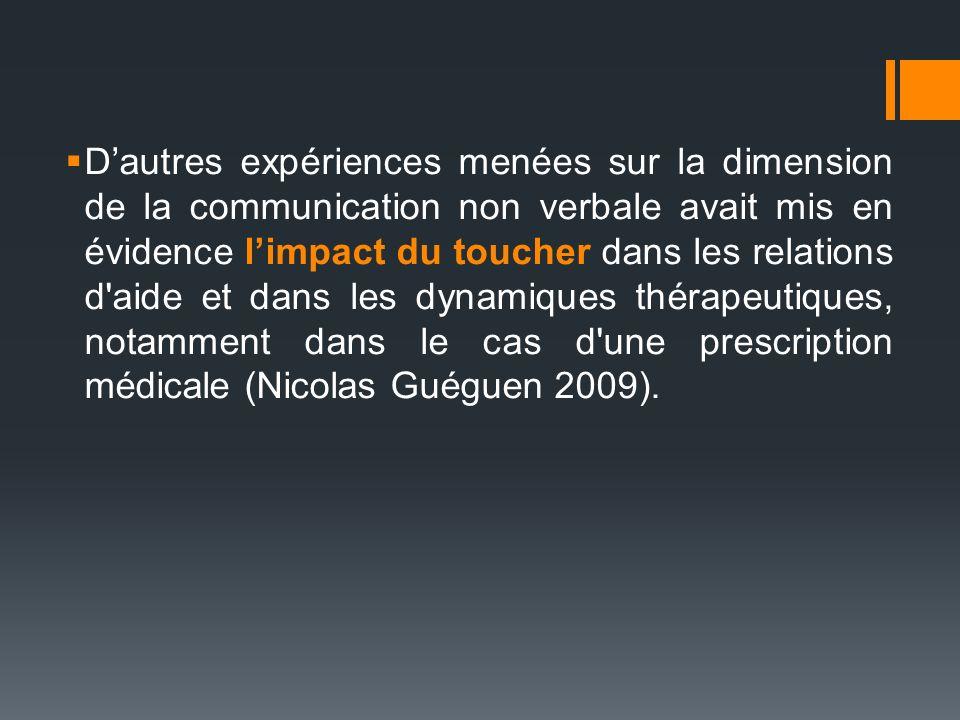 D'autres expériences menées sur la dimension de la communication non verbale avait mis en évidence l'impact du toucher dans les relations d aide et dans les dynamiques thérapeutiques, notamment dans le cas d une prescription médicale (Nicolas Guéguen 2009).