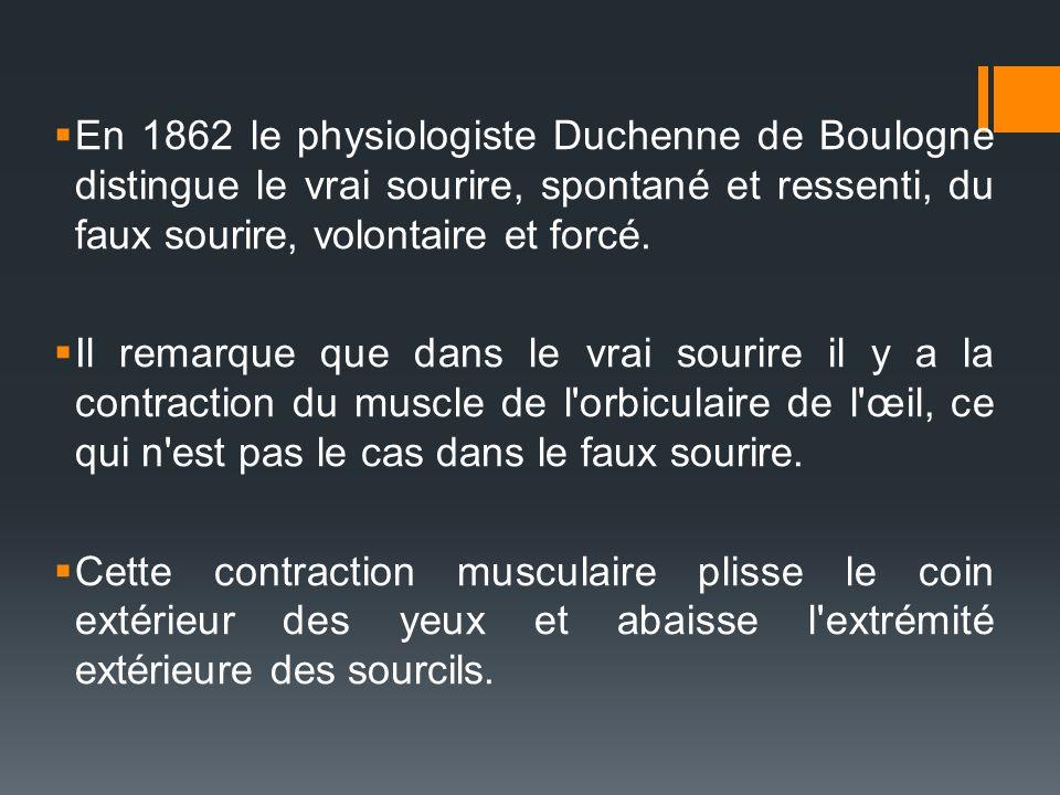 En 1862 le physiologiste Duchenne de Boulogne distingue le vrai sourire, spontané et ressenti, du faux sourire, volontaire et forcé.