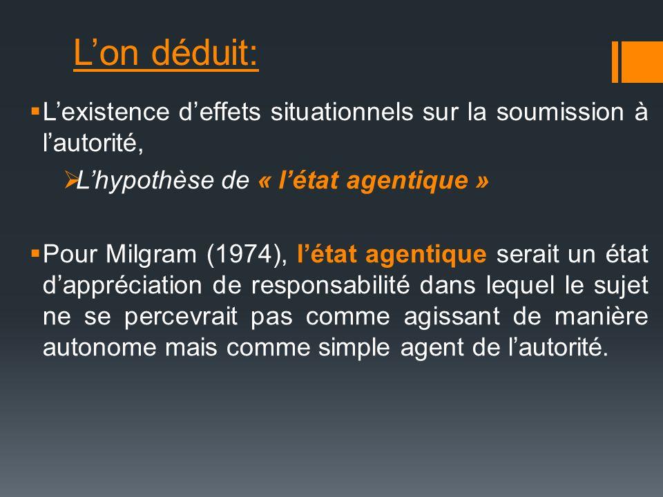 L'on déduit: L'existence d'effets situationnels sur la soumission à l'autorité, L'hypothèse de « l'état agentique »