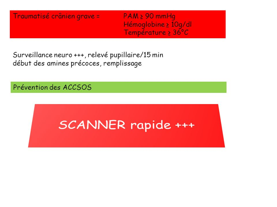 SCANNER rapide +++ Traumatisé crânien grave = PAM ≥ 90 mmHg