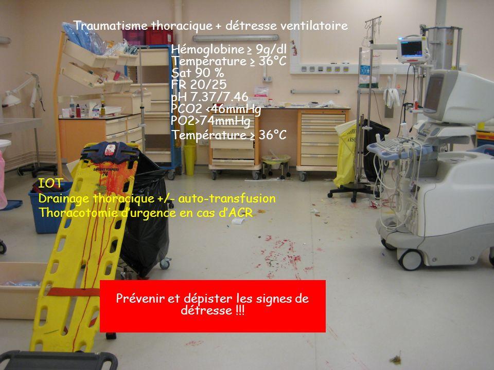 Traumatisme thoracique + détresse ventilatoire Hémoglobine ≥ 9g/dl